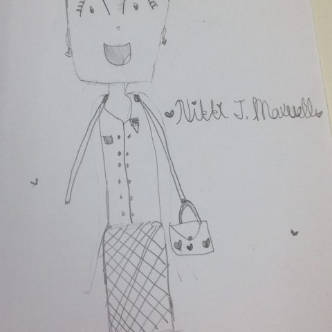 Nikki in her NHH uniform with her  bag