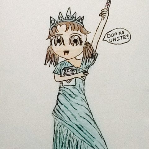 Nikki as the Statue of Dorkity