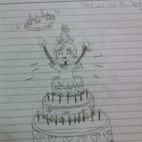 Nikki in a cake