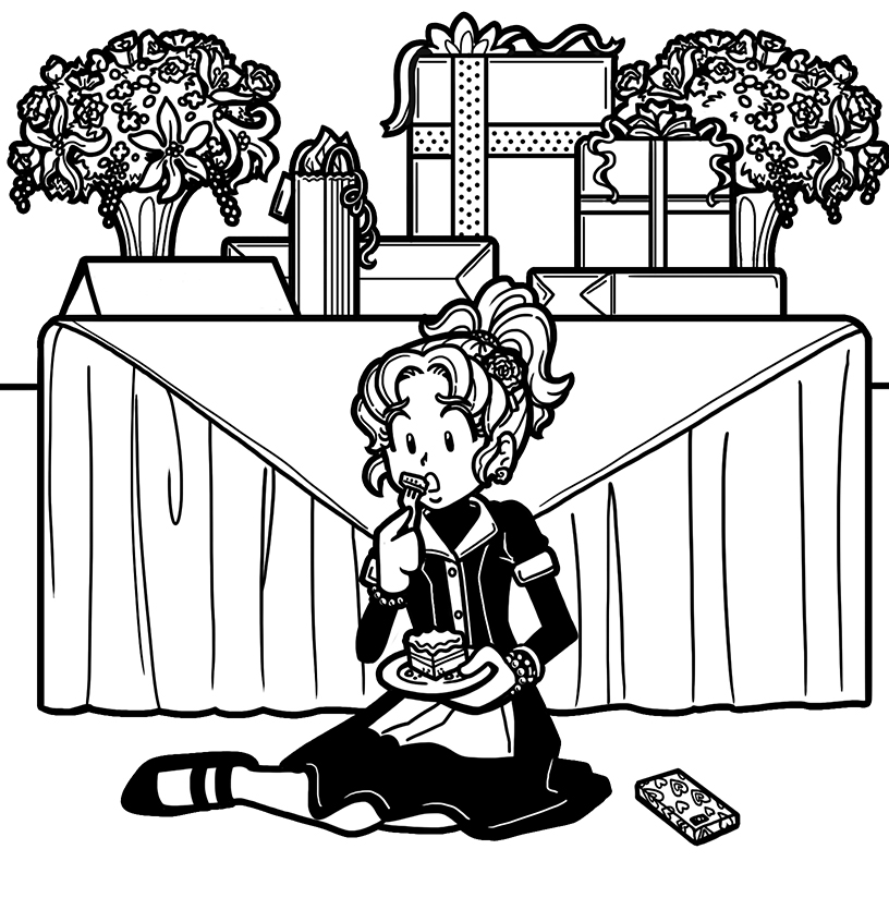Nikki dressed as a maid sitting on the floor eating wedding cake