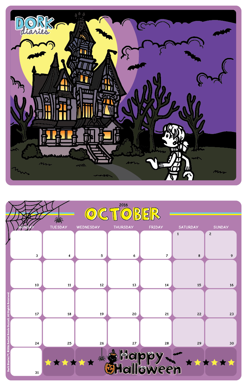 October Calendar – Spooky Halloween – Dork Diaries
