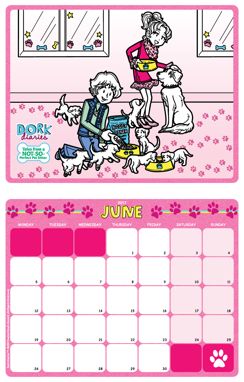dork diaries - calendar-june2017-preview