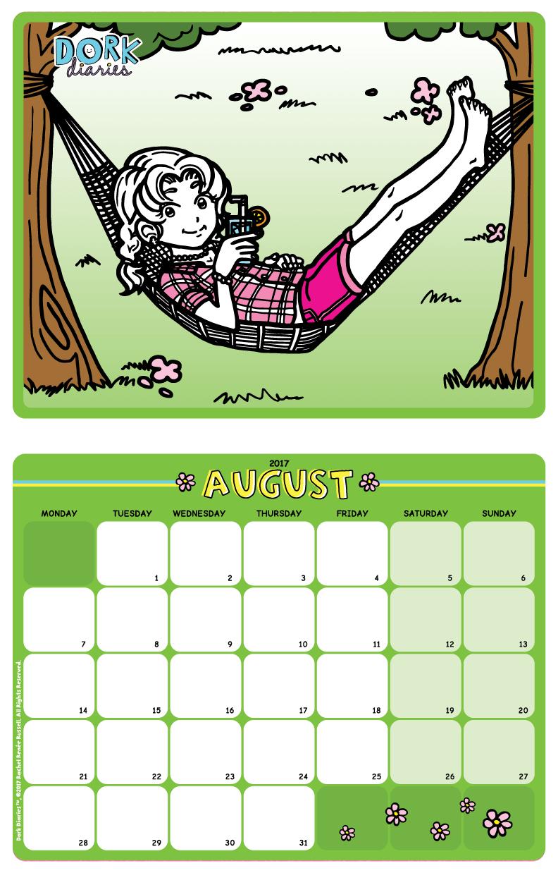 dork diaries-calendar-august2017