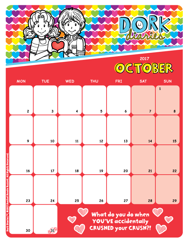dork diaries-calendar-OCT2017-preview2
