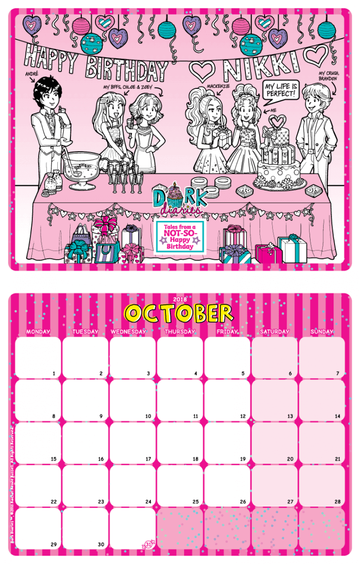 October Calendar Happy Birthday Dork Diaries